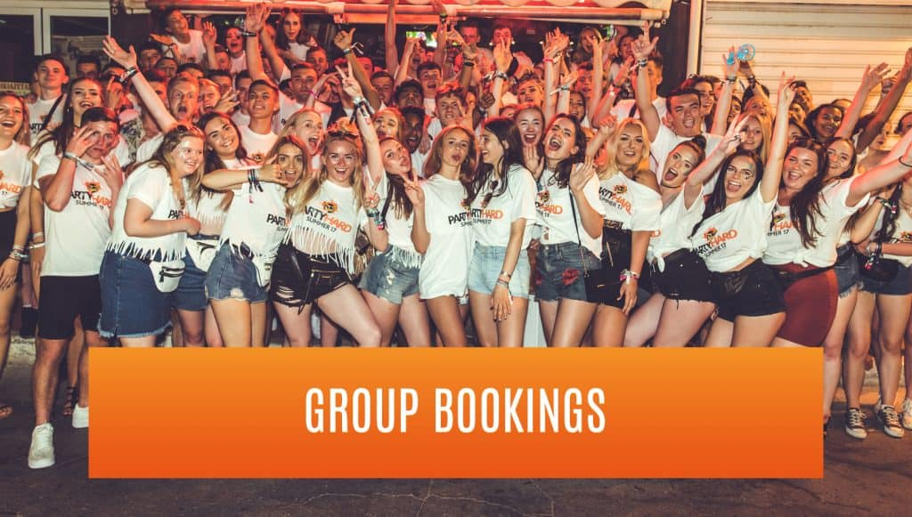 large group of party goers, button that leads to group booking request form