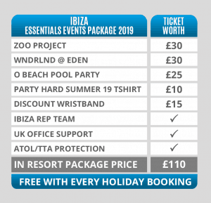 Ibiza Essentials Events Packages Pricing Table 2019