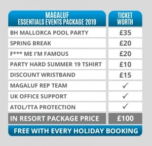 Magaluf Essentials Events Packages Pricing Table 2019