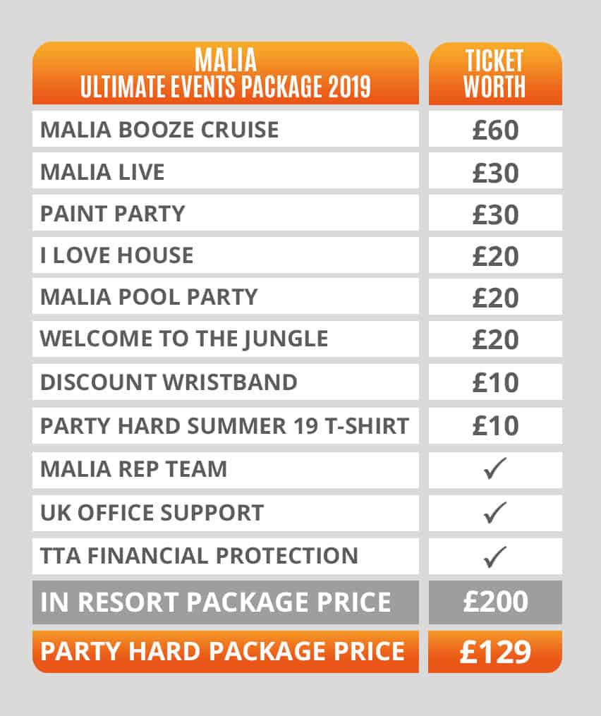 Malia Ultimate Events Packages Pricing Table 2019