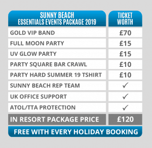 Sunny Beach Essentials Events Packages Pricing Table 2019
