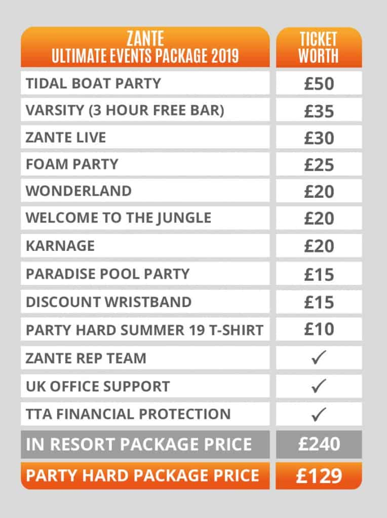 Zante Ultimate Events Packages Pricing Table 2019